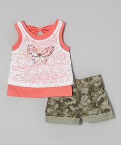 Love this Orange Butterfly Tank & Green Camo Shorts - Toddler & Girls by Speechless on #zulily! #zulilyfinds