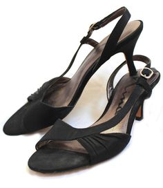 "NINA Black Satin Fabric Leather Sole Open Toe Slingback 2.5"" Heels Eur 37.5 7.5 #Nina #Stilettos #SpecialOccasion"