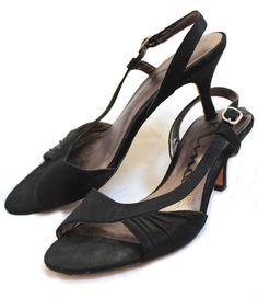"NINA Black Satin Fabric Leather Sole Open Toe Slingback 2.5"" Heels Eur 37.5 7.5 #Nina #Stilettos #SpecialOccasion"