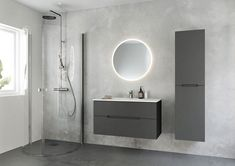 Tidløst nordisk baderomsdesign - Byggmakker - Lilly is Love Corner Shower Doors, Downstairs Toilet, Modern Wallpaper, Bathroom Furniture, Scandinavian Design, Armoire, Zen, Shelves, Mirror