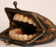 """Freaky coin purse sculpture, from """"Un-Think"""" by Nancy Fouts. Weird And Wonderful, Art Plastique, Altered Art, Creations, Cool Stuff, Buy Stuff, Change Purse, Random, Dental Art"""
