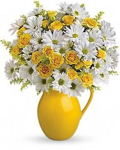 Teleflora's Sunny Day Pitcher of Daisies Flower Arrangement. This cheerful bouquet of daisies is the epitome of spring from @Teleflora! For each Pitcher of Daisies Flower Arrangement sold, 10% of the revenue will be donated to ALSF in support of our fight against childhood cancer.