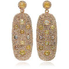 Bavna Multicolor Diamond Drop Earrings ($8,525) ❤ liked on Polyvore featuring jewelry, earrings, multicolor earrings, 18k earrings, 18 karat gold jewelry, tri color jewelry and diamond jewelry