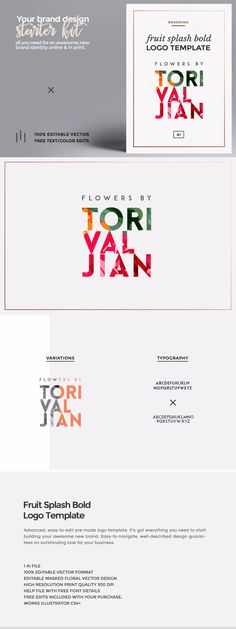 Fruit Splash Bold Logo Template Easy-to-use logo template in 100% editable .AI vector format. Color and text changes to the logo are included in the cost. #design #graphicdesign #graphicdesigner #logodesign #webdesign #illustration #art via http://83oranges.com