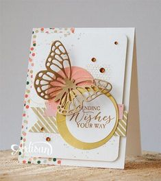 "Sending Wishes Stamps: Stampin'UP Butterfly Basics, Gorgeous Grunge Paper: Stampin'Up Whisper White, Gold Soiree Specialty Designpapier, Gold Foil Paper Size: 4,25"" x 11"" folded to 4,25"" x 5,5"" Inch Ink: Stampin'Up Baked Brown Sugar Accessories: Stampin'Up Butterfies Thinlits Dies, Circle Punches, rhinestones Techniques: Stamping and Die-cutting Read more: http://www.splitcoaststampers.com/gallery/photo/2596199#ixzz3P3GbZg2W"