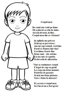 Poezie - Corpul meu Health Education, Kids Education, Experiment, Romanian Language, Cartoon Man, Baby Play, Nursery Rhymes, Pre School, School Projects
