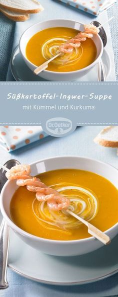 Süßkartoffel-Ingwer-Suppe – Cremesuppe mit Süßkartoffeln und frischer Ingwe… Sweet potato ginger soup – Cream soup with sweet potatoes and fresh ginger note Best Potato Soup, Creamy Potato Soup, Loaded Baked Potato Soup, Sweet Potato, Soup Recipes, Vegetarian Recipes, Healthy Recipes, Eat Smart, Fresh Ginger