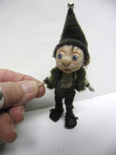 tiny OOAK pose-able GNOME elf fairy art DOLL by DinkyDarlings