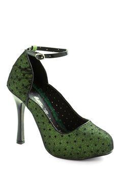Shine Lichen a Star Heel by Bettie Page - Green, Black, Polka Dots, Glitter, High, Formal, Party, Film Noir