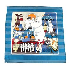 Frame it and hang it in a nursery or kids room! cute!!  Moomin silk scarf 100% Silk Satin Stripe Chiffon by FloraKoh