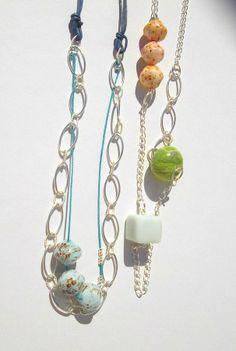 Collares cadena con bolas de cerámica. Colección Primavera 2014