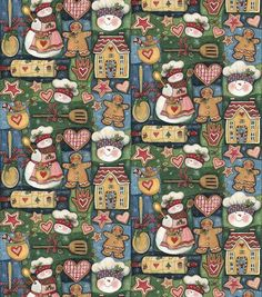 Holiday Inspirations Fabric-Susan Winget  Snowman Kitchen Patch