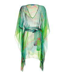 MATTHEW WILLIAMSON ESCAPE Mint Multicolor Printed Silk Chiffon Caftan ($451) ❤ liked on Polyvore
