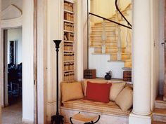 Reading nook tucked under the stairs at Villa Volpi—a neo-classical palazzo overlooking the Mediterranean Architecture Design, Types Of Architecture, Ancient Greek Architecture, Architecture Board, Built In Couch, Villa, British Home, Book Nooks, Reading Nooks