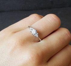 Skinny Thin Trilogy Diamond Engagement Ring Knife by ArahJames #EngagementRings #DazzlingDiamondEngagementRings