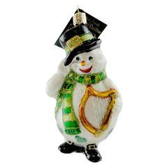 Irish Snowman Glass Ornament