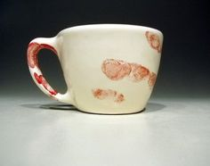 mugs with blood fingerprint by Circa Ceramics