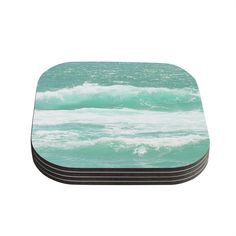 Kess InHouse Monika Strigel 'Maui Waves' Teal Coasters