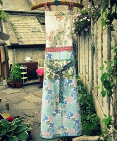 Full Apron created from vintage textiles - (via dottieangel blog)