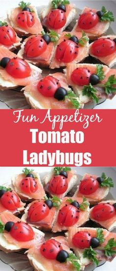 Tomato Ladybugs Fun Appetizer made with cherry tomatoes, salmon, cream cheese and olives. I just love this creative appetizer idea. You can serve your Tomato Ladybugs on top of crunchy baguette or … Real Food Recipes, Cooking Recipes, Healthy Recipes, Delicious Recipes, Best Appetizers, Appetizer Recipes, Appetizer Party, Kids Meals, Easy Meals