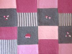Hedgehog Wool Quilt Patchwork Baby Blanket - Made to Order - Heirloom quilt. Your color choices. Needle felted Hedgehog & Mushrooms. $89.00, via Etsy.
