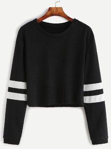 Black Varsity Striped Sleeve Crop T-shirt