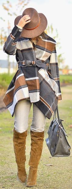 Fall Multi Plaid Cape Cardigan