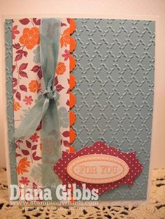 Layered Labels, Floral District dsp, Adorning Accents edgelits, Apothecary Accents framelits, & Fancy Fan embossing folder. Thanks Diana!