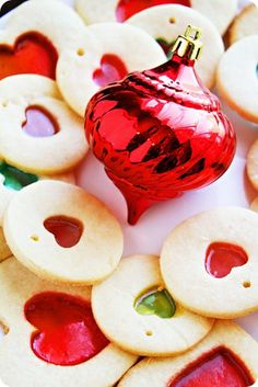 Stained Glass Cookies-- i know this is a christmas picture but mom used to make them in heart shapes at v-day every year