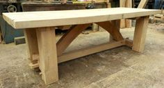 SOLID-AIR-DRIED-OAK-TABLE-RUSTIC-CHUNKY-SOLID-WOOD-FEATURE-CENTREPIECE