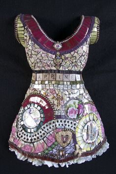 """Absolutely incredible and beautiful mosaic dress creations by Susan Wechsler. This one is called """"HAPPINESS"""" ~ for Mary"""
