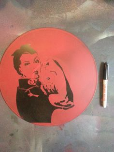 Rosie the Riveter  vinyl record wall art (one of a kind) spray paint & stencil painting on Etsy, $10.00