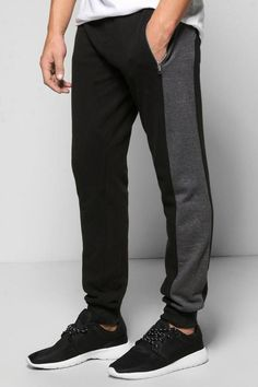 boohoo Skinny Fit Waffle Joggers With Side Panel
