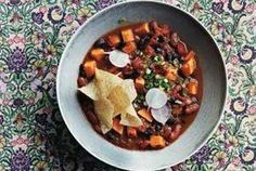 A game-day favorite fit for vegetarians. This chili is loaded with sweet potatoes, bell peppers, and a variety of beans.
