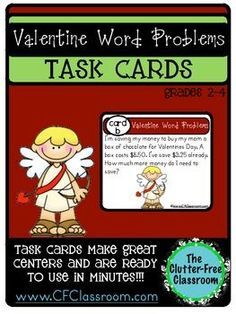TASK CARDS: VALENTINES DAY WORD PROBLEMS - Great for 2nd, 3rd, and 4th grade students! 5 pages $ This packet contains word problem task cards with a Valentine theme to practice addition, subtraction, time, money, multiplication, and division. You'll get 15 task cards, a recording sheet, and an answer guide. It's a great set for grades two and three, but a nice review for fourth grade as well. Use it on Valentine's Day, or any time during the month of February!