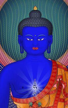 Medicine Buddha Thangka painting detail. TraditionalArtofNepal.com