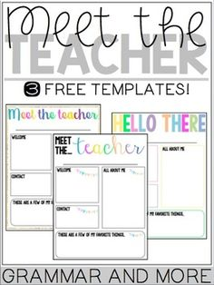 this freebie includes 3 colorful and fun editable meet the teacher templatesthey are great for open house curriculum night or can be slipped into friday
