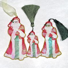 Santa Christmas free standing ornament fsl in the hoop embroidery