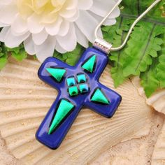 LARGE Royal Blue Fused Glass Cross Pendant Item (10036-PC)