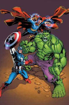 Doctor Strange, Hulk & Captain America by Carlo Pagulayan___©___!!!!