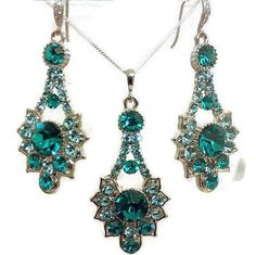 Peacock Bridal Jewelry Set Teal Bridesmaid Earrings by YJCouture