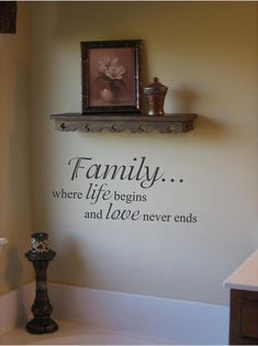 Family where life begins and love never ends Wall Art in Words Vinyl lettering Decals Free Shipping to the U.S.