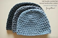 Crochet Hat Pattern - Free Crochet Pattern using cotton yarn - sizes preemie to adult large. Perfect for Chemo Caps.