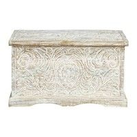 distressed solid mango wood carved indian chest in white w 79cm carved solid mango wood