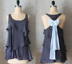 MISTY AURA - Romantic gray flowy tier blouse // pastel baby blue // chiffon sash bow // tunic // tank top // racerback. $42,00, via Etsy.