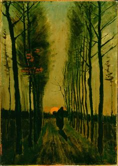 lane of poplars at sunset  van gogh, 1884
