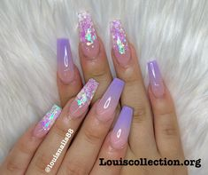 How to choose your fake nails? - My Nails Purple Acrylic Nails, Summer Acrylic Nails, Best Acrylic Nails, Acrylic Nail Designs, Purple Ombre Nails, Purple Nail Designs, Nail Swag, Stylish Nails, Trendy Nails