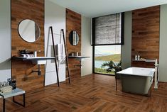 Laminate flooring on walls for a warm and luxurious feel of the interior - Little Piece Of Me Home, Home Construction, Bathroom Wall Tile, Wood Look Tile, Laminate Flooring On Walls, Interior, Home Trends, Floor Tile Design, Flooring On Walls