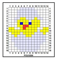 Perle ou elastique Croquis Canard Poussin Perler Patterns, Crochet Patterns, Pixel Art, Cross Stitch Beginner, Baby Blocks, Plastic Canvas, Crochet Baby, Cross Stitch Patterns, Coding
