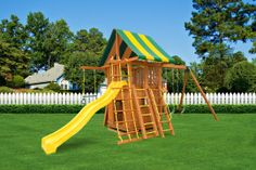 The Dream Jungle Gym #4 comes with a bottom playhouse under the play deck. A perfect spot for the kids to hide out! Also included is a wooden step ladder, accessory arm and a sling swing. Don't worry , there's still plenty of room to grow later on if you want to add monkey bars or a gang plank.  Swing set comes complete with everything pictured.